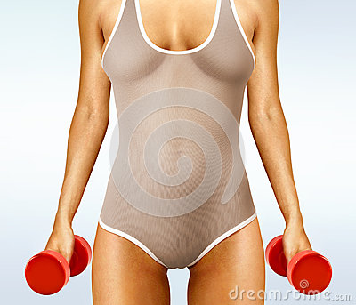 Woman with red dumbbells
