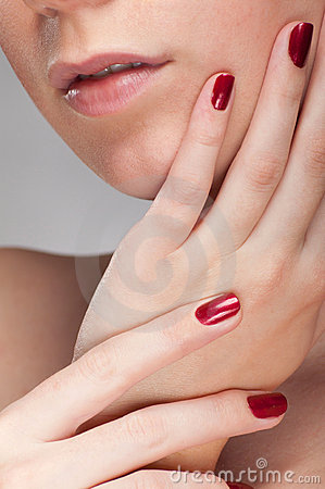 Woman red fingernail