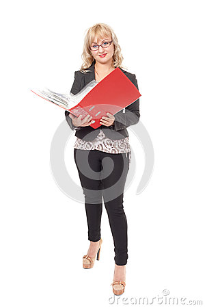 Woman with red folder for documents