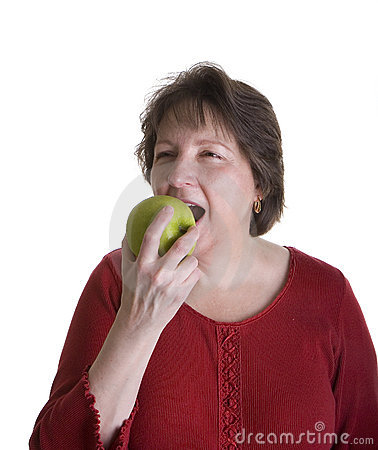 Woman in Red with Green Apple