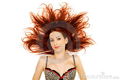 Woman with red hair splayed
