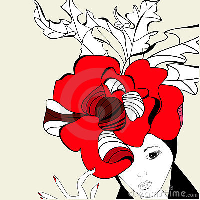 Woman with red hat