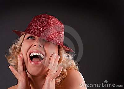 Woman in red hat emotion