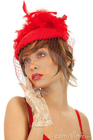Woman in red hat with net veil isolated