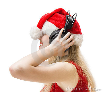 Woman in red with headphones