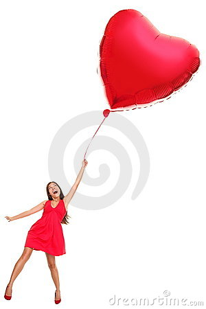Woman with red heart balloon - funny