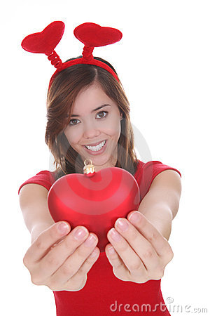 Woman with red love heart