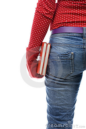 Woman in red mitten keeping books