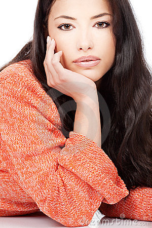 Woman in a red orange wool sweater