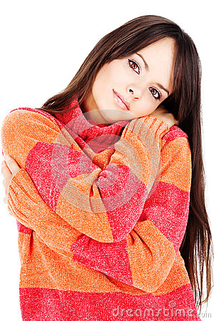 Woman in a red-orange wool sweater