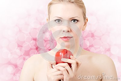Woman with red pepper