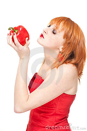 Woman with red pepper.