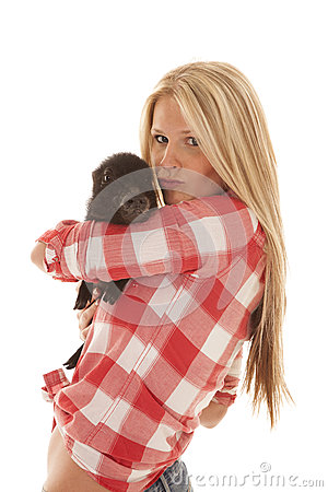 Woman red plaid pig hold