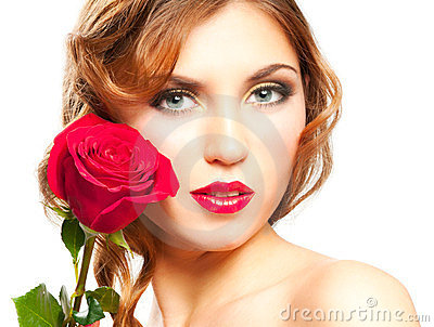 Woman with red rose