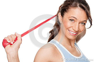 Woman with red rubber band