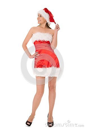 Woman in red santa hat