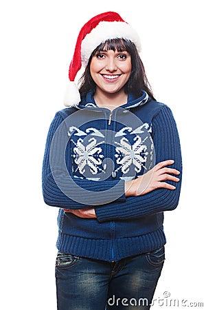 Woman in red santa s hat