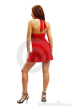 Woman in red short dress