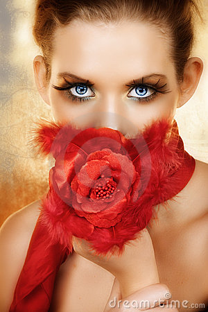 Woman with red silk rose