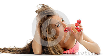 Woman with red strawberries