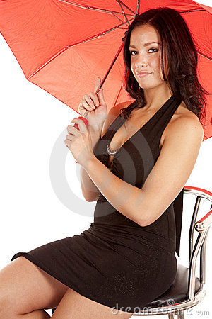Woman red umbrella black dress