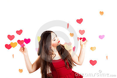 Woman in red on Valentine s day