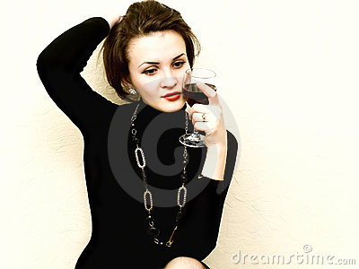 Woman with red whine