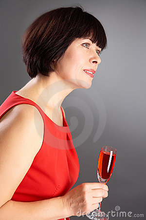 Woman with red wine