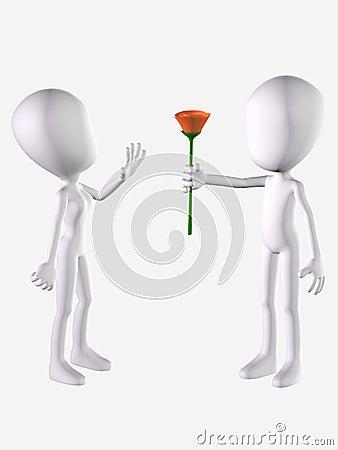 Woman refusing rose from man