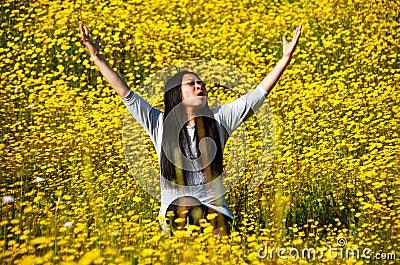 Woman joy praise and faith