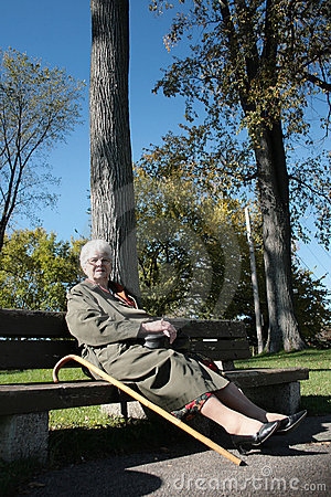 Woman relax on a bench
