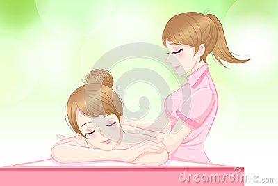 Woman relax massage Vector Illustration