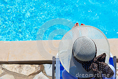 Woman relaxed at the pool