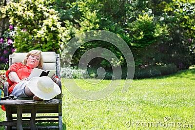 Woman relaxing in the garden