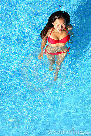 Free Woman Relaxing In Swimming Pool Royalty Free Stock Photos - 23320048