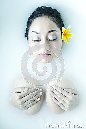 Woman relaxing in milk bath