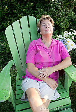 Woman Relaxing with MP3 Player