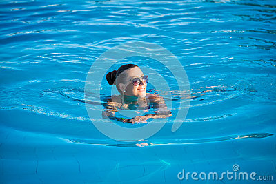 Woman Relaxing Near Blue Swimming Pool Stock Photo Image 43477233