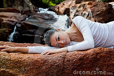 Woman relaxing at outdoor