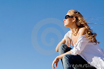 Woman relaxing on summer vacation