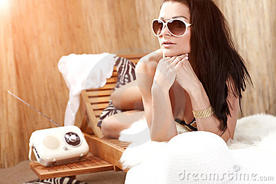 Woman relaxing on vacation,