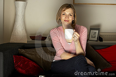 Woman Relaxing Watching Television