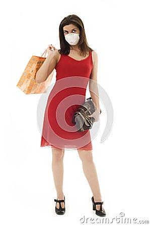 Woman in respirator