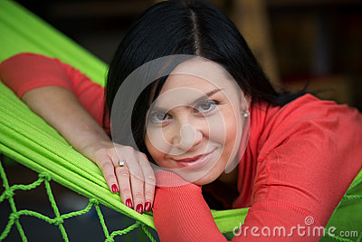 Woman rest in hammock