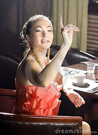 Woman at restaurant