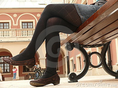Woman resting on the bench