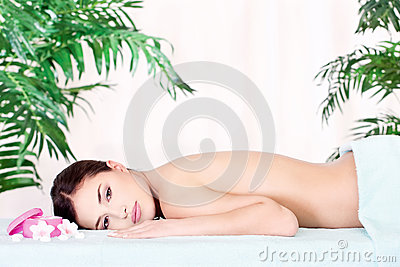Woman resting after massage