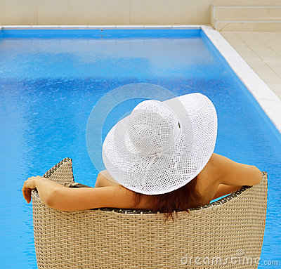 Woman Resting At The Pool Stock Photos Image 33737243