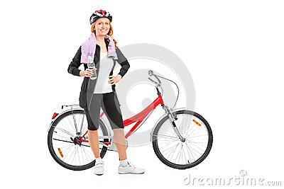 Woman resting after riding a bike