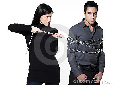 woman restraining a man chained royalty free stock photos image 23920638. Black Bedroom Furniture Sets. Home Design Ideas